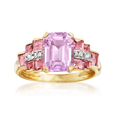 3.00 Carat Kunzite and 1.10 ct. t.w. Tourmaline Ring in 14kt Yellow Gold, , default