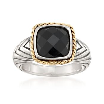 Andrea Candella Black Onyx Ring With 18kt Yellow Gold in Sterling Silver, , default