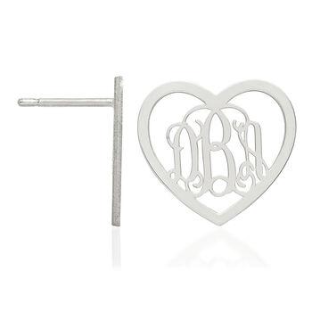 Sterling Silver Medium Laser Polished Heart Monogram Post Earrings, , default