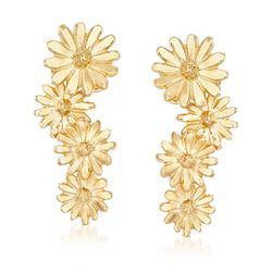 Italian 18kt Yellow Gold Over Sterling Silver Graduated Floral Earrings, , default