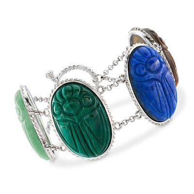 Multi-Stone Large Scarab Station Toggle Bracelet in Sterling Silver, , default