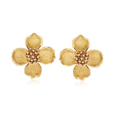 C. 1990 Vintage Tiffany Jewelry Dogwood Flower Clip-On Earrings in 18kt Yellow Gold, , default