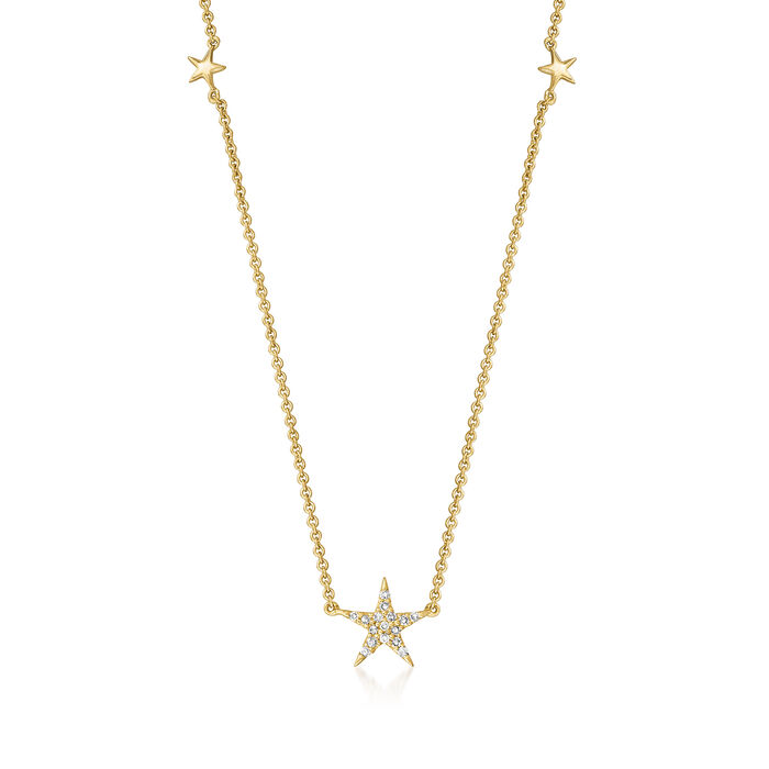 14kt Yellow Gold Star Necklace with Diamond Accents