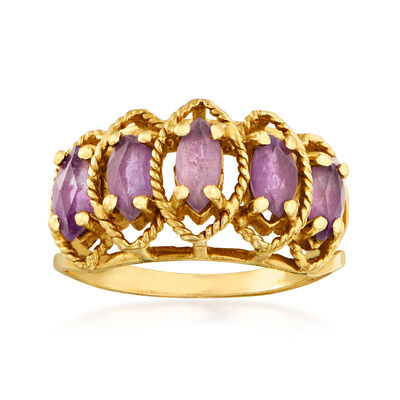 C. 1980 Vintage 1.00 ct. t.w. Simulated Amethyst Ring in 14kt Yellow Gold, , default