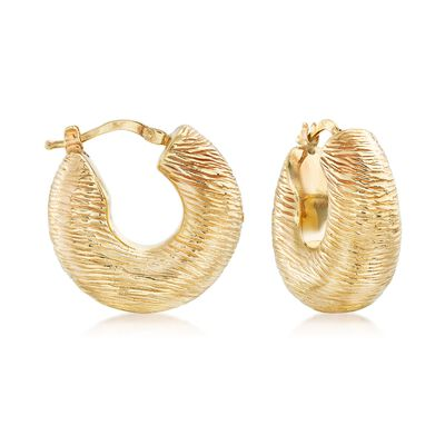 Italian 18kt Yellow Gold Textured and Puffed Hoop Earrings, , default