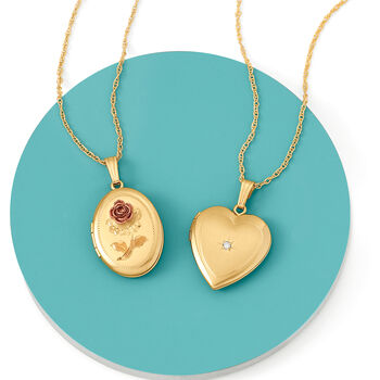 """14kt Yellow Gold Heart Locket Necklace with Diamond Accent. 20"""", , default"""