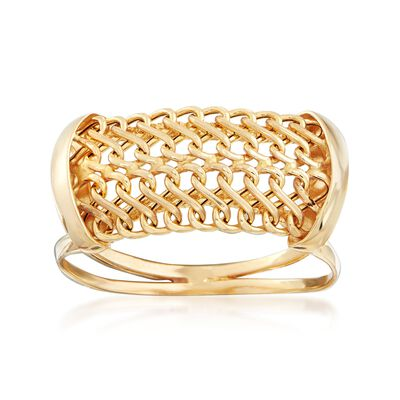 Italian 18kt Yellow Gold Mesh Ring, , default