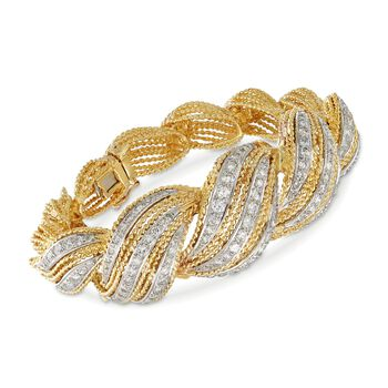 "C. 1980 Vintage 3.00 ct. t.w. Diamond Twist Bracelet in 18kt Yellow Gold. 6.5"", , default"