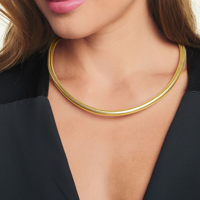 Italian 18kt Yellow Gold Over Sterling Silver Flexible Four-In-One Necklace/Bracelet