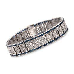 """C. 1970 Vintage 7.50 ct. t.w. Sapphire and 1.40 ct. t.w. Diamond Bracelet in Platinum. 7.25"""", , default"""