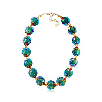 """Italian Multicolored Murano Glass Fish Necklace with 18kt Gold Over Sterling. 18"""", , default"""