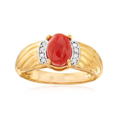 Orange Coral Ring with Diamond Accents in 18kt Gold Over Sterling