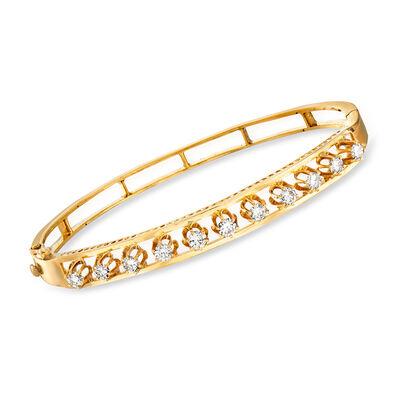 C. 1970 Vintage 2.00 ct. t.w. Diamond Bangle Bracelet in 14kt Yellow Gold, , default