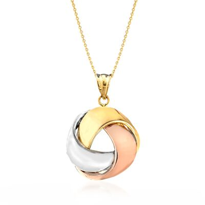 14kt Tri-Colored Gold Love Knot Ribbon Pendant Necklace