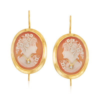 Italian Shell Cameo Drop Earrings with Diamond Accents in 18kt Gold Over Sterling