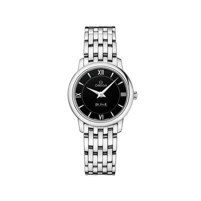 Omega De Ville Prestige Women's 27.4mm Stainless Steel Watch With Black Dial, , default