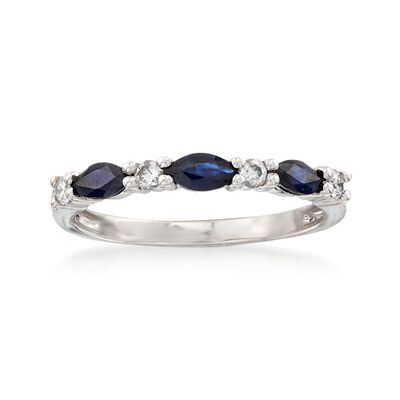 3.00 ct. t.w. Sapphire and .12 ct. t.w. Diamond Ring in 14kt White Gold, , default