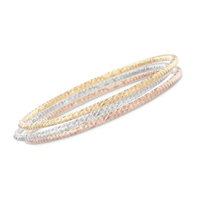 Italian Tri-Colored Sterling Silver Jewelry Set: Three Diamond-Cut Bangle Bracelets, , default
