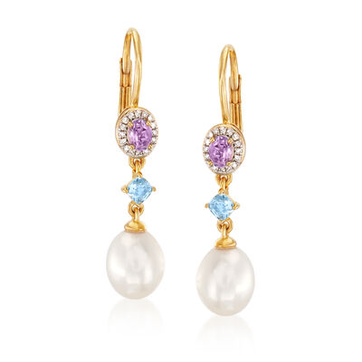 7-7.5mm Cultured Pearl, .30 ct. t.w. Amethyst and .20 ct. t.w. Blue Topaz Drop Earrings with Diamond Accents in 18kt Gold Over Sterling, , default
