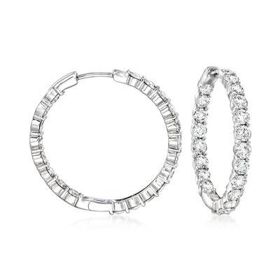 4.00 ct. t.w. Diamond Inside-Outside Hoop Earrings in 14kt White Gold