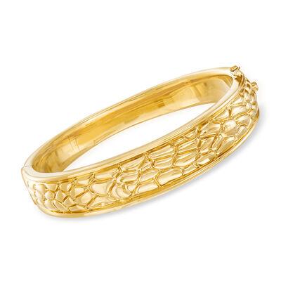 14kt Yellow Gold Alligator Motif Bangle Bracelet, , default