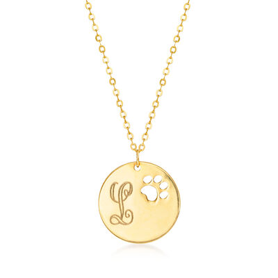 Italian 14kt Yellow Gold Cut-Out Paw Print Single-Initial Disc Necklace