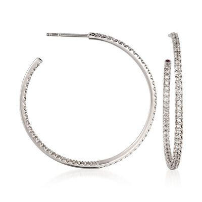Roberto Coin 1.10 ct. t.w. Diamond Inside-Outside Hoop Earrings in 18kt White Gold , , default