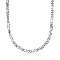 18kt White Gold Wheat-Link Necklace, , default