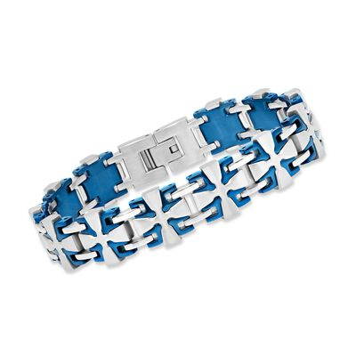 Men's Blue and White Stainless Steel Cross-Link Bracelet, , default