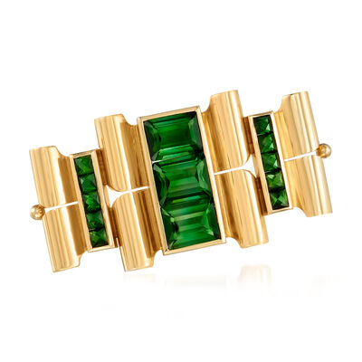 C. 1940 Vintage 7.60 ct. t.w. Green Tourmaline Pin in 14kt Yellow Gold