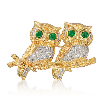 C. 1980 Vintage .50 ct. t.w. Diamond and .43 ct. t.w. Emerald Double-Owl Pin in 18kt Yellow Gold, , default