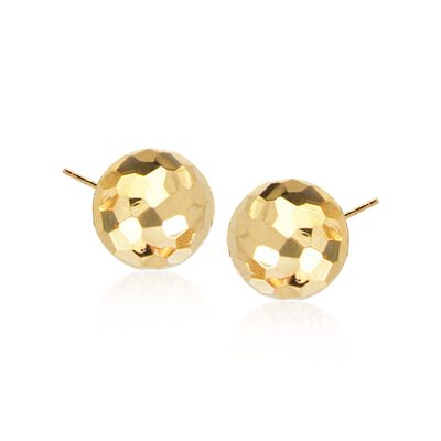 14kt Yellow Gold Faceted Dome Stud Earrings, , default