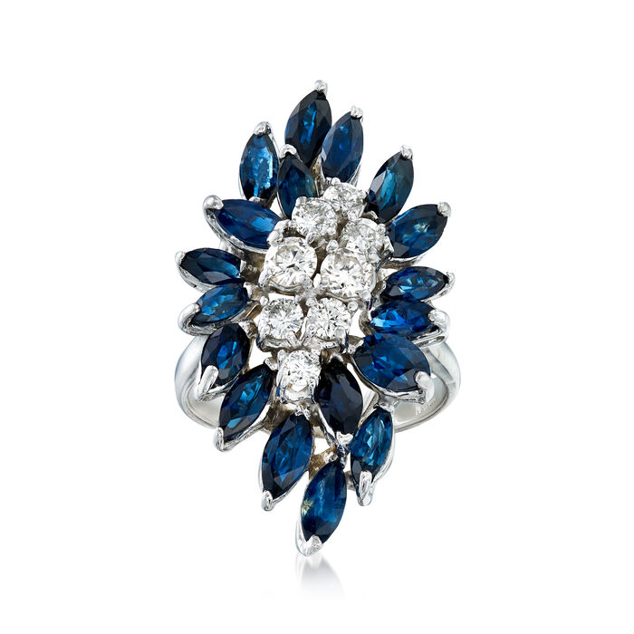 C. 1990 Vintage 2.70 ct. t.w. Sapphire and .75 ct. t.w. Diamond Cluster Ring in 14kt White Gold. Size 6.5, , default