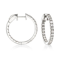 "1.50 ct. t.w. Diamond Inside-Outside Hoop Earrings in 14kt White Gold. 3/4"", , default"