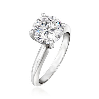 2.55 Carat Certified Diamond Solitaire Engagement Ring in Platinum. Size 6