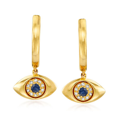 .10 ct. t.w. Sapphire Evil Eye Drop Earrings with Diamond Accents in 14kt Yellow Gold