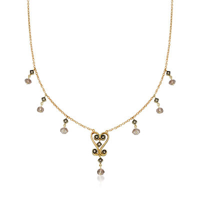 C. 2000 Vintage 1.00 ct. t.w. Smoky Quartz and .20 ct. t.w. Diamond Beaded Station Necklace in 14kt Yellow Gold, , default