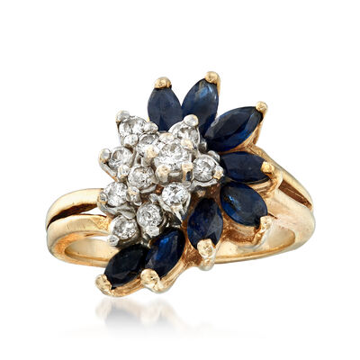 C. 1970 Vintage 1.20 ct. t.w. Sapphire and .30 ct. t.w. Diamond Cluster Ring in 14kt Yellow Gold, , default