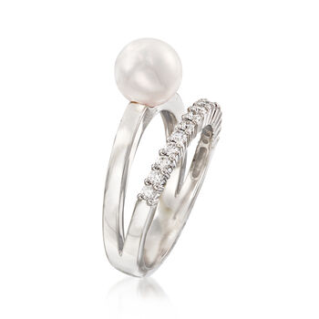 Mikimoto 7mm A+ Akoya Pearl and .23 ct. t.w. Diamond Ring in 18kt White Gold. Size 6.5, , default