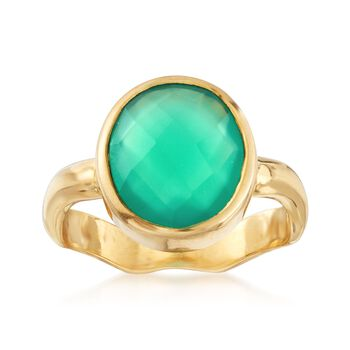 Green Onyx Ring in 18kt Gold Over Sterling, , default