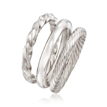 Sterling Silver Jewelry Set: Three Polished Rings, , default
