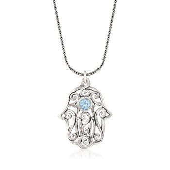 1.00 Carat Blue Topaz Hamsa Hand Scrollwork Drop Necklace in Sterling Silver