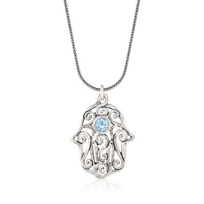 1.00 Carat Blue Topaz Hamsa Hand Scrollwork Drop Necklace in Sterling Silver, , default
