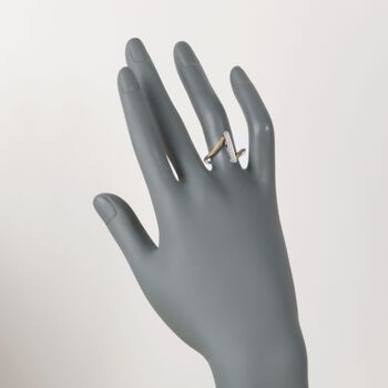 """ALOR """"Classique"""" Yellow Cable Bar Ring With Diamond Accents and 18kt White Gold. Size 7, , default"""