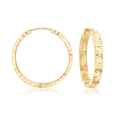 Italian 14kt Yellow Gold Textured Hoop Earrings, , default