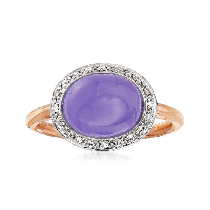 C. 1990 Vintage Mimi Milano Lavender Jade and .15 ct. t.w. Diamond Ring in 18kt Two-Tone Gold. Size 7.5, , default