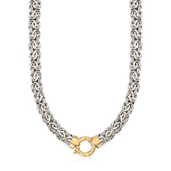 Sterling Silver Byzantine Necklace with 14kt Yellow Gold, , default