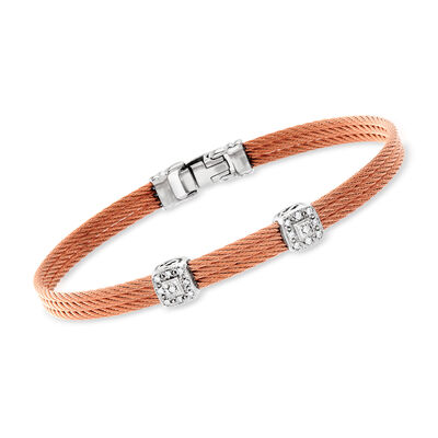 "ALOR ""Classique"" Diamond Double-Station Rose Cable Bracelet with 18kt White Gold"