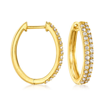 .50 ct. t.w. Pave Diamond Oval Hoop Earrings in 18kt Gold Over Sterling