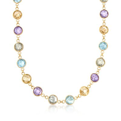 48.00 ct. t.w. Multi-Stone Necklace in 14kt Yellow Gold Over Sterling